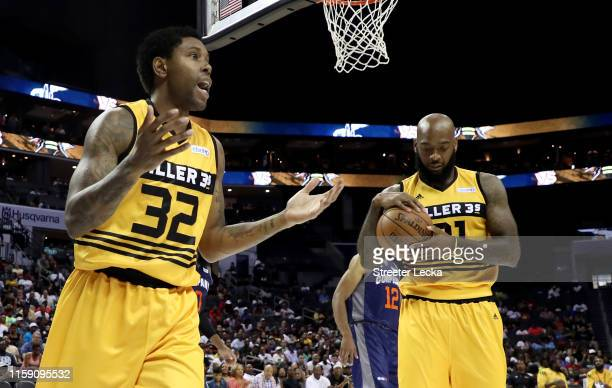 Watson of Killer 3s reacts against 3's Company during week two of the BIG3 three on three basketball league at Spectrum Center on June 29, 2019 in...