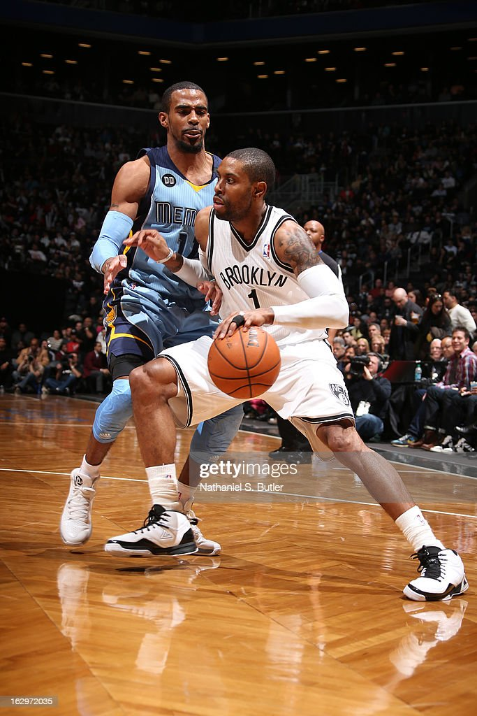 C.J. Watson #1 of the Brooklyn Nets dribbles the ball up the court against the Memphis Grizzlies on February 24, 2013 at the Barclays Center in the Brooklyn borough of New York City.