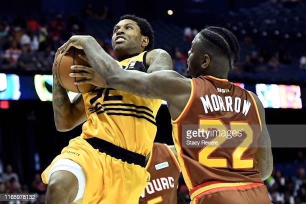 Watson of the Killer 3's attempts a shot while being guarded by Anthony Morrow of the Bivouac in the first half during week seven of the BIG3 three...