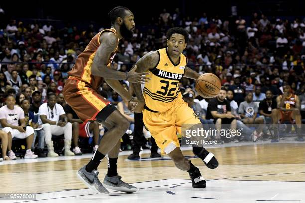 Watson of the Killer 3's dribbles the ball while being guarded by Anthony Morrow of the Bivouac in the first half during week seven of the BIG3 three...