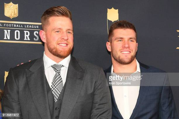 Watt and his brother TJ Watt pose for Photographs on the Red Carpet at NFL Honors during Super Bowl LII week on February 3 at Northrop at the...