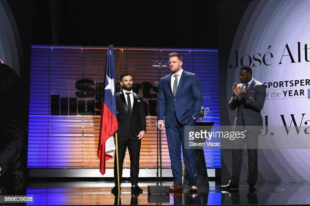 J Watt and Jose Altuve receive the Sportsperson of the Year Award during SPORTS ILLUSTRATED 2017 Sportsperson of the Year Show on December 5 2017 at...