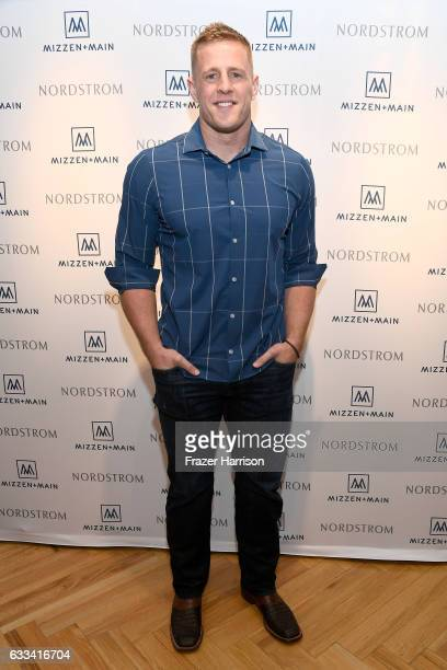 J Watt celebrates MizzenMain at Nordstrom Houston Galleria on February 1 2017 in Houston Texas