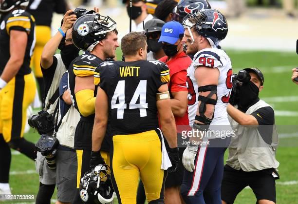 Watt, Derek Watt of the Pittsburgh Steelers and J.J. Watt of the Houston Texans talk after Pittsburgh's 28-21 win at Heinz Field on September 27,...