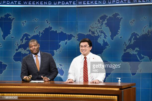 LIVE JJ Watt Episode 1779 Pictured Anchor Michael Che and Bowen Yang as Chen Biao during Weekend Update on Saturday February 1 2020