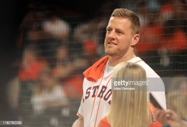 J J Watt of the Houston Texans and fiance Kealia Ohai of the Houston Dash are seen prior to Game One of the 2019 World Series between the Houston...