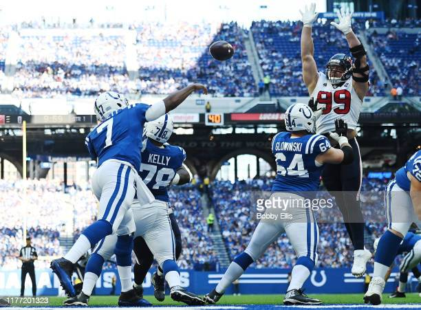 J Watt of the Houston Texans bats down a pass from Jacoby Brissett of the Indianapolis Colts during the first quarter of the game between the...