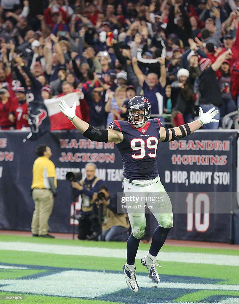 J.J. Watt #99 of the Houston Texans celebrates his sack against Blake Bortles #5 of the Jacksonville Jaguars in the fourth quarter in a NFL game on December 28, 2014 at NRG Stadium in Houston, Texas. It was Watt's 20th sack for the season.