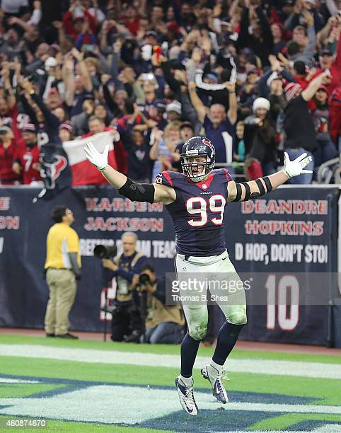 J Watt of the Houston Texans celebrates his sack against Blake Bortles of the Jacksonville Jaguars in the fourth quarter in a NFL game on December 28...