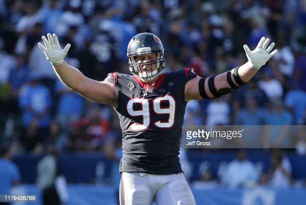 Watt of the Houston Texans celebrates in the closing seconds of the game against the Los Angeles Chargers at Dignity Health Sports Park on September...
