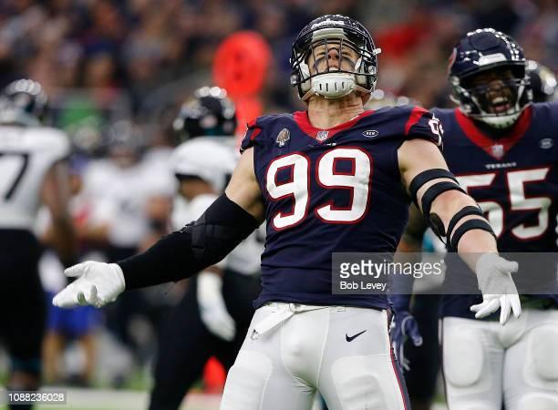 J Watt of the Houston Texans celebrates with Benardrick McKinney after sacking Blake Bortles of the Jacksonville Jaguars during the fourth quarter at...