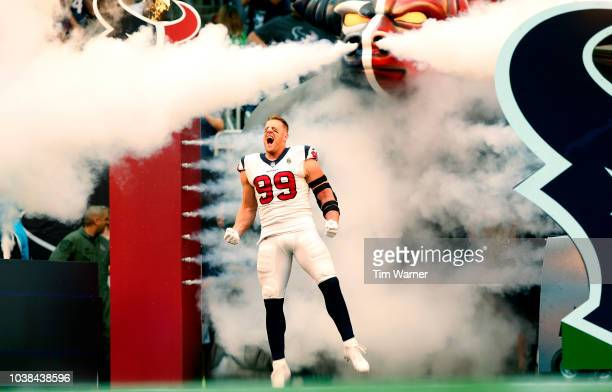 J Watt of the Houston Texans enters the field before the game against the New York Giants at NRG Stadium on September 23 2018 in Houston Texas