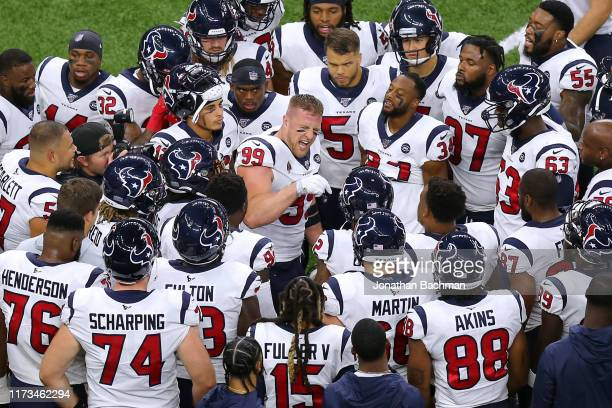 J Watt of the Houston Texans gives the team a pep talk before a game against the New Orleans Saints at the Mercedes Benz Superdome on September 09...