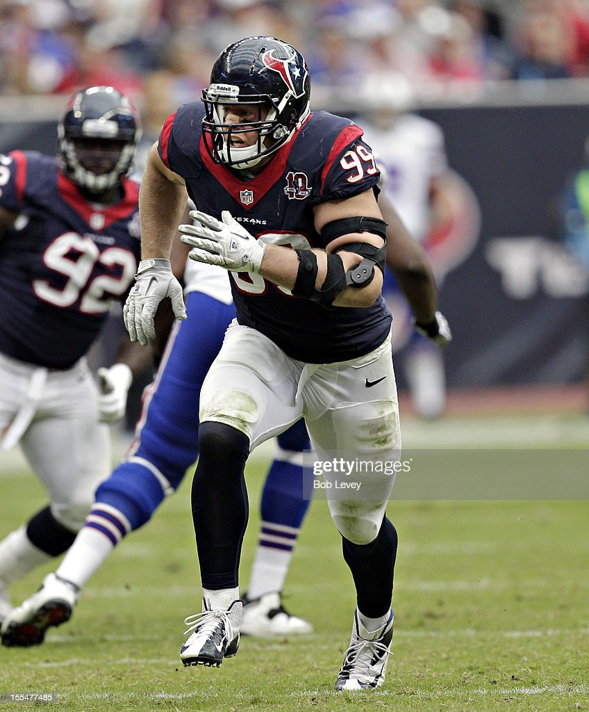 J.J. Watt #99 of the Houston Texans in action against the Buffalo Bills at Reliant Stadium on November 4, 2012 in Houston, Texas. Houston defeated Buffalo 21-9.
