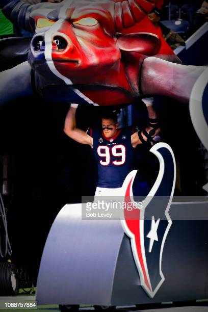 J Watt of the Houston Texans is introduced to the crowd before a football game against the Jacksonville Jaguars at NRG Stadium on December 30 2018 in...