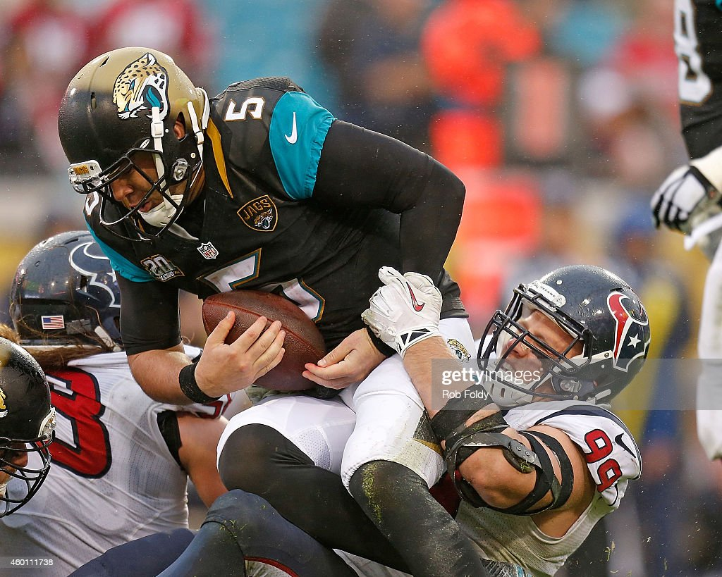 J.J. Watt #99 of the Houston Texans sacks Blake Bortles #5 of the Jacksonville Jaguars during the second half of the game at EverBank Field on December 7, 2014 in Jacksonville, Florida.
