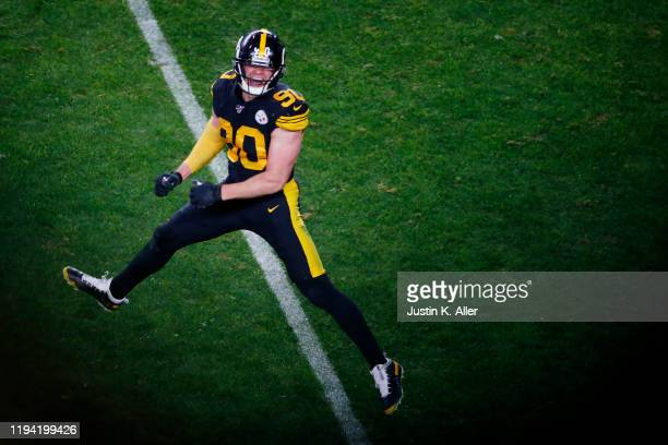 Watt of the Pittsburgh Steelers celebrates after a forced fumble during the second half against the Buffalo Bills in the game at Heinz Field on...