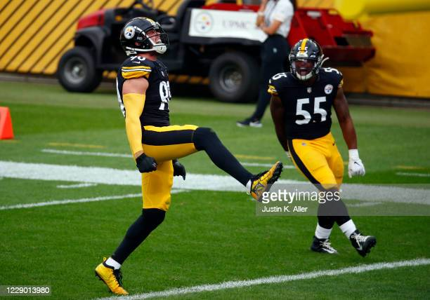 Watt of the Pittsburgh Steelers celebrates after a sack in the first half against the Philadelphia Eagles on October 11, 2020 at Heinz Field in...