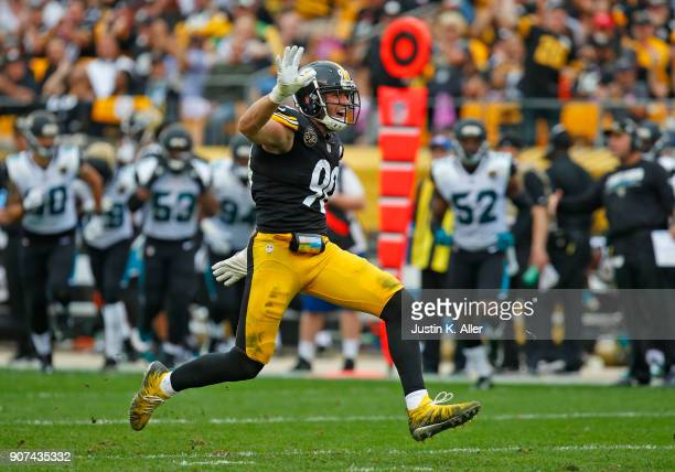 J Watt of the Pittsburgh Steelers in action against the Jacksonville Jaguars on October 8 2017 at Heinz Field in Pittsburgh Pennsylvania