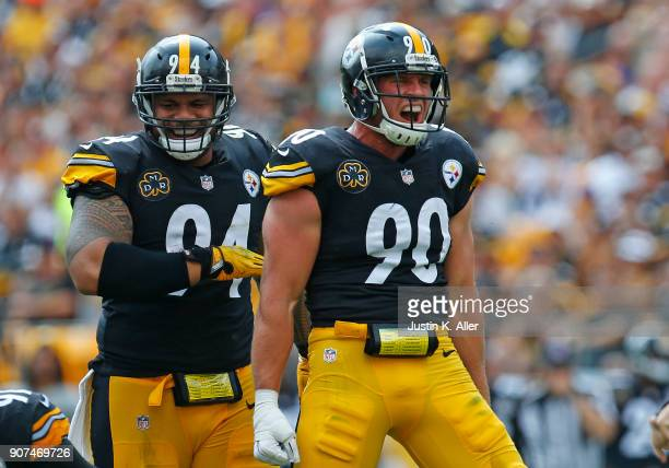 J Watt of the Pittsburgh Steelers in action against the Minnesota Vikings on September 17 2017 at Heinz Field in Pittsburgh Pennsylvania