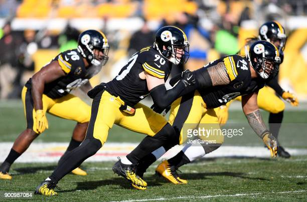 J Watt of the Pittsburgh Steelers in action during the game against the Cleveland Browns at Heinz Field on December 31 2017 in Pittsburgh Pennsylvania