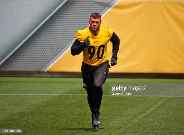 Watt of the Pittsburgh Steelers in action during training camp at Heinz Field on July 29, 2021 in Pittsburgh, Pennsylvania.
