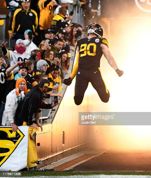 J Watt of the Pittsburgh Steelers jumps as he is introduced before the start of the game against the Miami Dolphins at Heinz Field on October 28 2019...