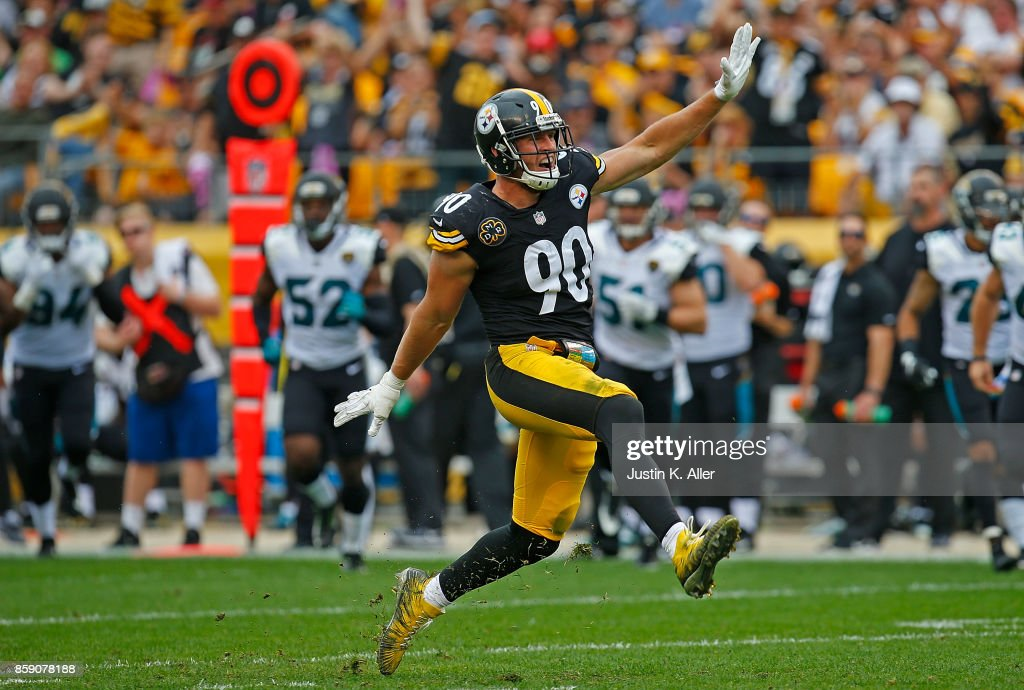 T.J. Watt #90 of the Pittsburgh Steelers reacts after a defensive stop in the second half during the game against the Jacksonville Jaguars at Heinz Field on October 8, 2017 in Pittsburgh, Pennsylvania.