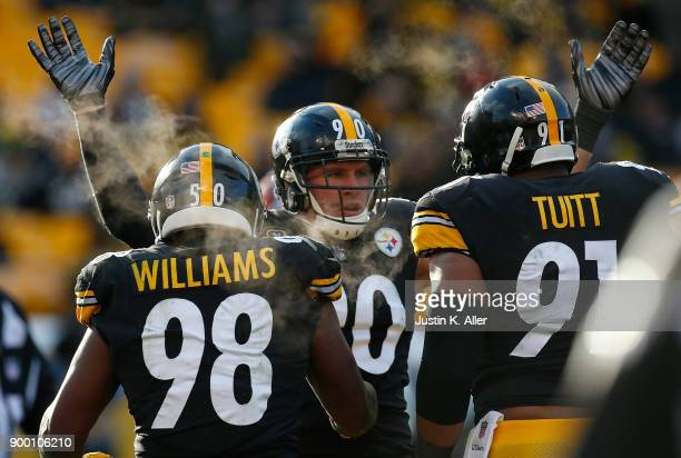 J Watt of the Pittsburgh Steelers reacts after a defensive stop in the third quarter during the game against the Cleveland Browns at Heinz Field on...