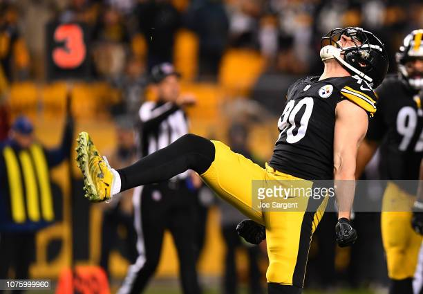 J Watt of the Pittsburgh Steelers reacts after a sack in the third quarter during the game against the Cincinnati Bengals at Heinz Field on December...