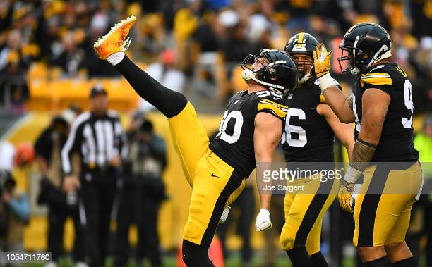 J Watt of the Pittsburgh Steelers reacts after a sack of Baker Mayfield of the Cleveland Browns during the second half in the game at Heinz Field on...