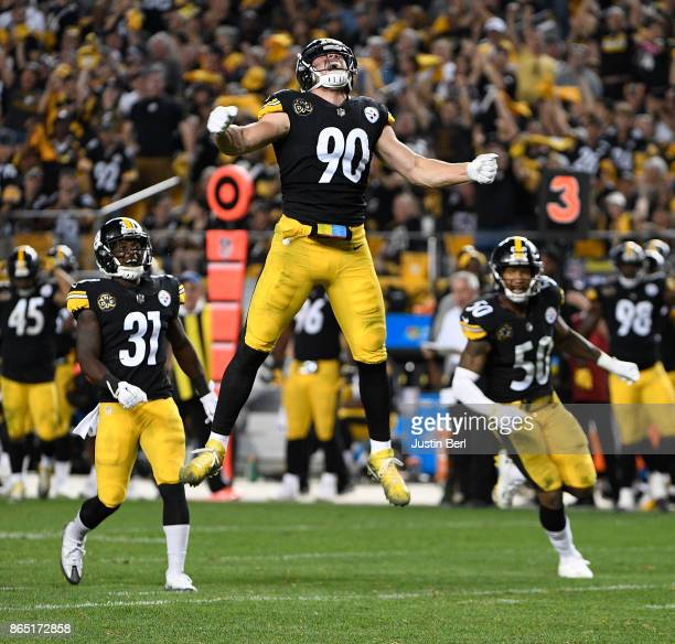 J Watt of the Pittsburgh Steelers reacts after a sack of quarterback Andy Dalton of the Cincinnati Bengals in the second half during the game at...