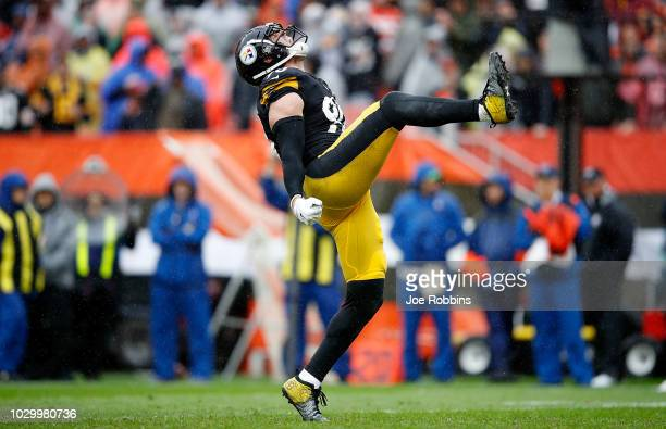 J Watt of the Pittsburgh Steelers reacts after making a sack during the third quarter against the Cleveland Browns at FirstEnergy Stadium on...