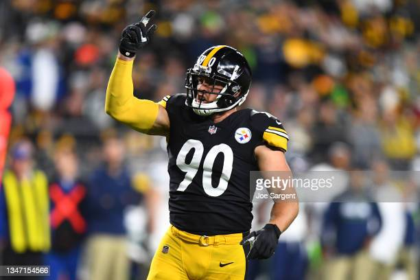 Watt of the Pittsburgh Steelers reacts during the first quarter against the Seattle Seahawks at Heinz Field on October 17, 2021 in Pittsburgh,...