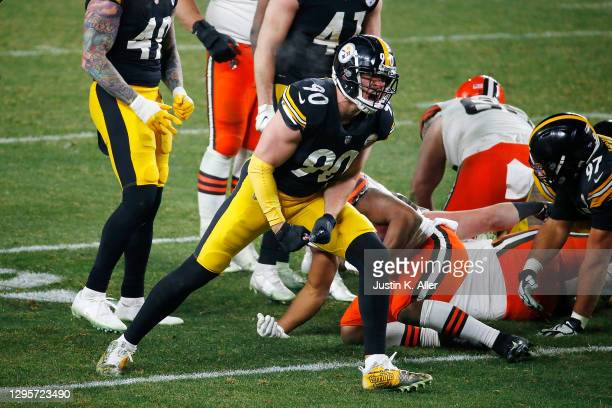 Watt of the Pittsburgh Steelers reacts to a defensive stop during the second half of the AFC Wild Card Playoff game against the Cleveland Browns at...