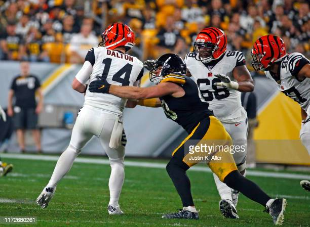 Watt of the Pittsburgh Steelers sacks Andy Dalton of the Cincinnati Bengals in the third quarter on September 30, 2019 at Heinz Field in Pittsburgh,...