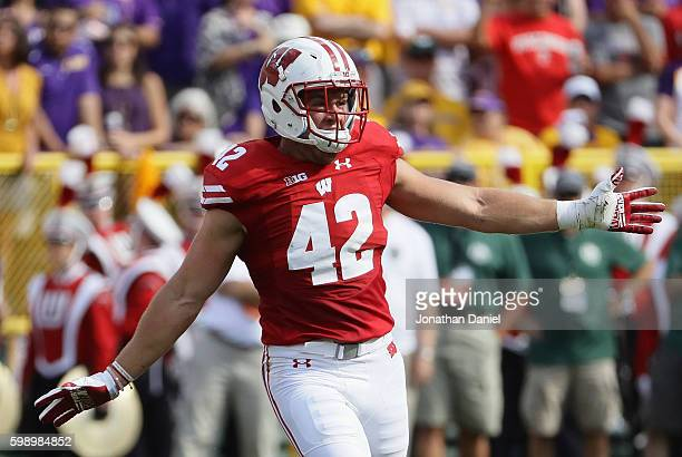 J Watt of the Wisconsin Badgers reacts during the first half against the LSU Tigers at Lambeau Field on September 3 2016 in Green Bay Wisconsin