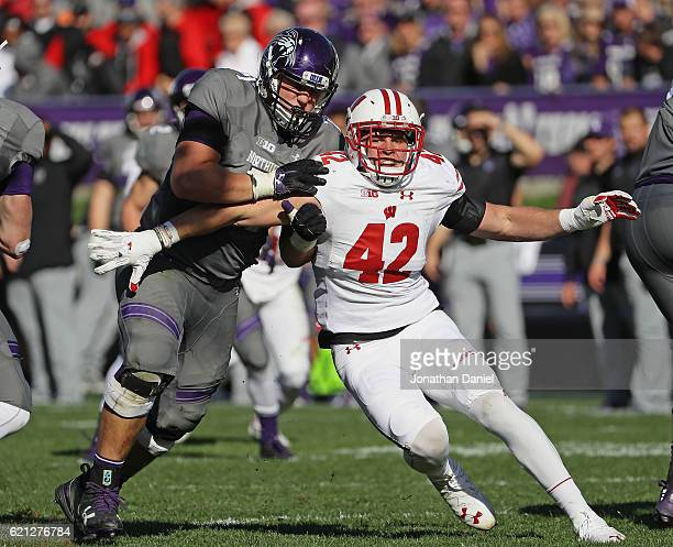 J Watt of the Wisconsin Badgers rushes against Tommy Doles of the Northwestern Wildcats at Ryan Field on November 5 2016 in Evanston Illinois...