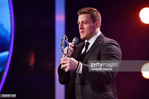 Watt with his Laureus Sporting Inspiration award during the 2018 Laureus World Sports Awards show at Salle des Etoiles Sporting MonteCarlo on...