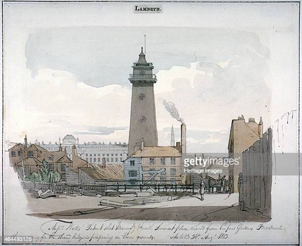 Watt's Shot Tower Lambeth London 1813 View with Somerset House behind and to the left of the tower