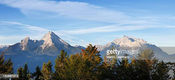 watzmann and hochkalter mountains, view from kneifelspitze mountain near berchtesgaden, berchtesgaden alps, berchtesgadener land district, upper bavaria, germany, europe - berchtesgaden alps stock photos and pictures