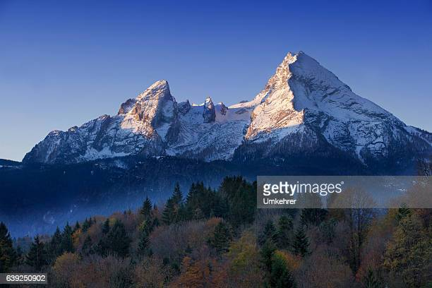 watzmann at morning - european alps stock photos and pictures