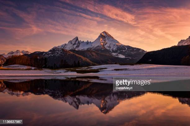 Watzmann reflection in winter at magic sunset - National Park Berchtesgaden