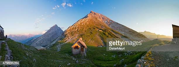 watzmann (peak hocheck) seen from watzmannhaus, xxxl panorama - berchtesgadener land stock photos and pictures