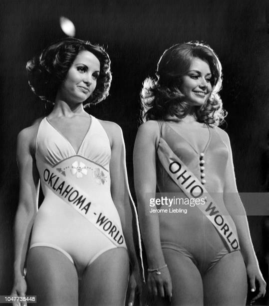 Waukita Gaddy Miss Oklahoma and Annelise Ilschenko Miss Ohio compete in the swimsuit competition of the 1975 Miss WorldUSA Beauty Pageant held at the...