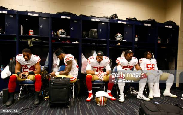 Waun Williams Dontae Johnson Eric Reid Eli Harold and Reuben Foster of the San Francisco 49ers relax in the locker room prior to the game against the...