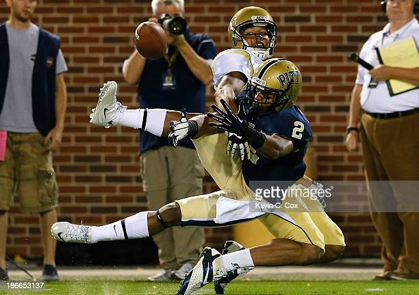Waun Williams of the Pittsburgh Panthers nearly intercepts a pass intended for Darren Waller of the Georgia Tech Yellow Jackets at Bobby Dodd Stadium...