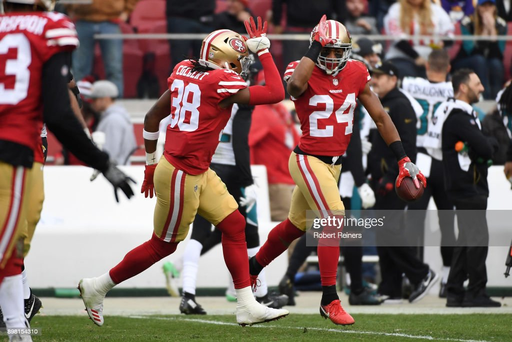 K'Waun Williams #24 of the San Francisco 49ers celebrates after an interception of Blake Bortles #5 of the Jacksonville Jaguars during their NFL game at Levi's Stadium on December 24, 2017 in Santa Clara, California.