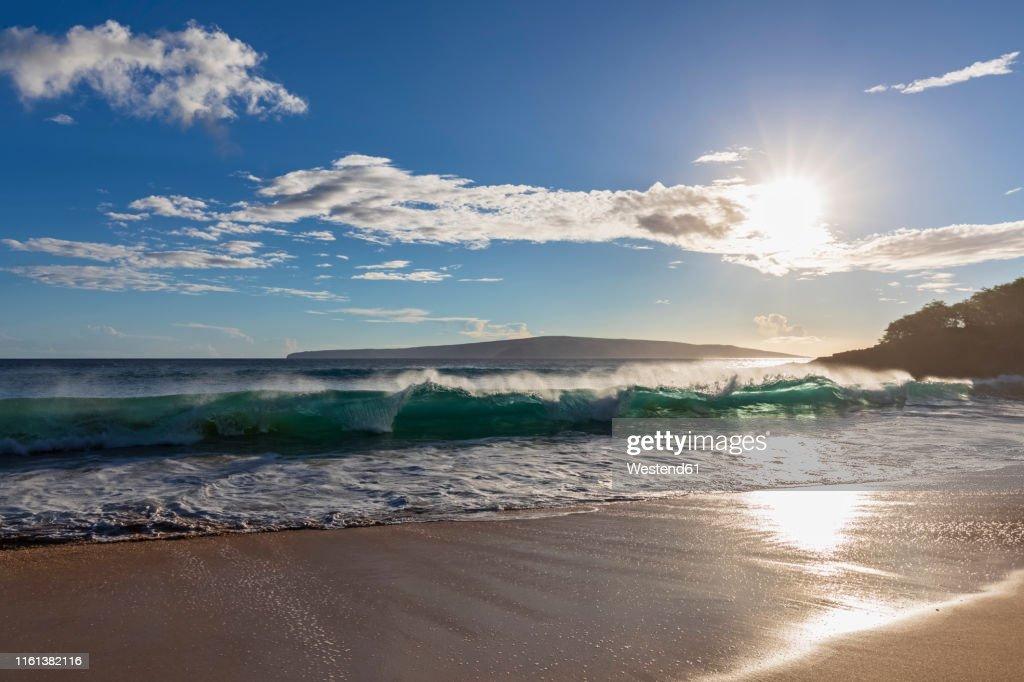 Wave Against The Sun Big Beach Makena Beach State Park Maui