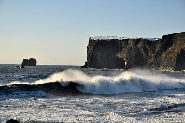 Wave and rock at Dyrhólaey in southern Iceland